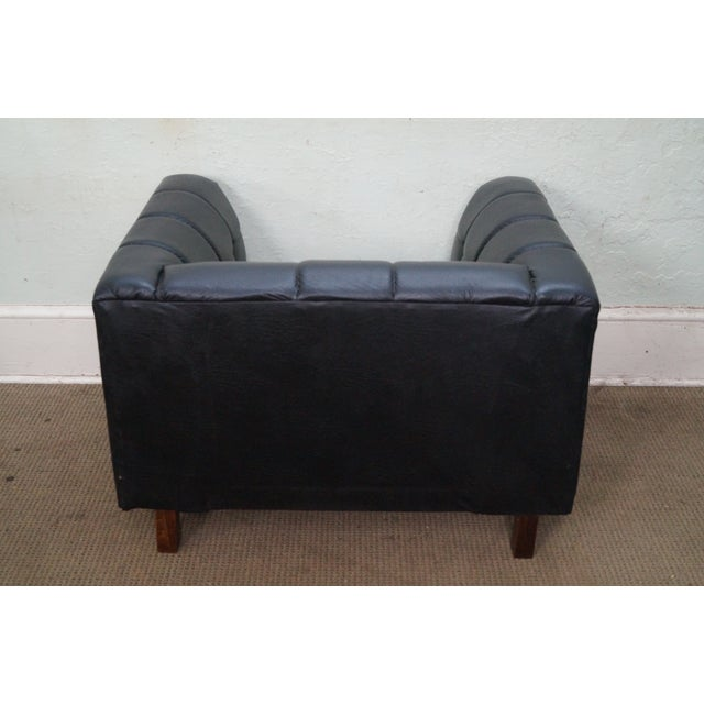 Mid Century Modern Black Faux Leather Tufted Club Chair For Sale - Image 4 of 10