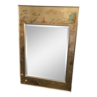 1970's Vintage LaBarge Chinoiserie Églomisé Mirror, Artist Signed For Sale