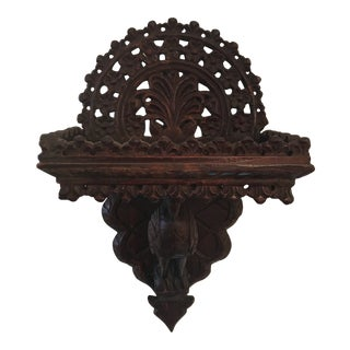 Antique Indian Hand- Carved Wood Wall Shelf For Sale
