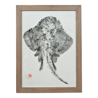 "Original Japanese Skate Fish ""Gyotaku"" on Linen For Sale"