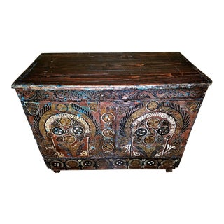 18c Scandinavian Hand Painted Pine Chest For Sale