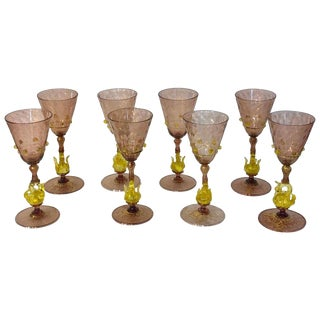 Eight Exquisite Amethyst and Gold Infused Murano Swan Wine Goblets by Salviati For Sale