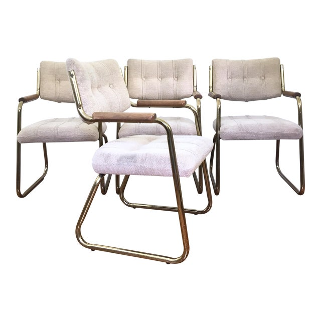 Vintage Brass Dining or Side Chairs - Set of 4 - Image 1 of 11