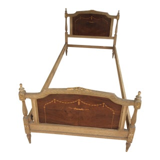 Vintage Juvenile Mahogany and Satin Inlaid Bedframe For Sale