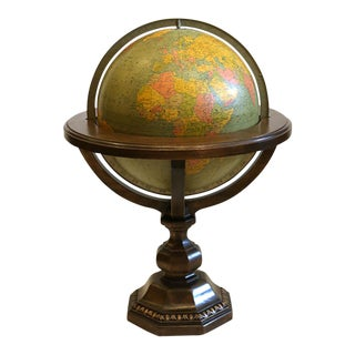 Large Library Globe on Wooden Stand C. 1950s. For Sale