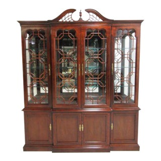 Thomasville Mahogany Chippendale Breakfront China Cabinet Hutch Curio Display