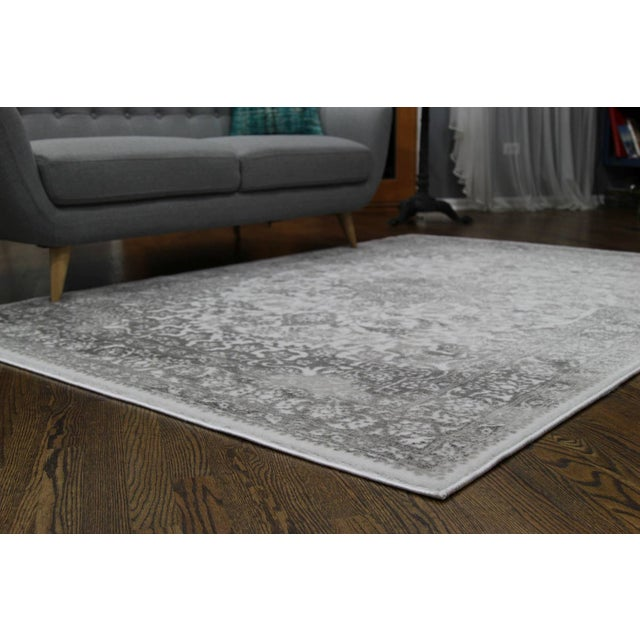"Distressed Medallion Silver Gray Rug - 8' x 10'7"" - Image 7 of 8"