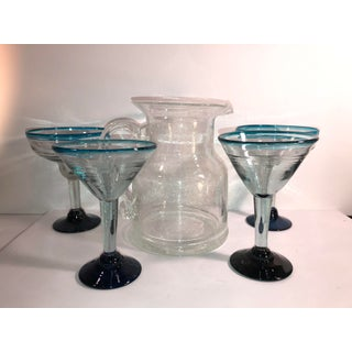 Mexican Hand Blown Glasses and Clear Pitcher Set - 5 Piece Set Preview