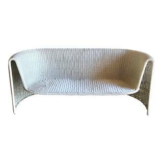 Mid Century Modern Eero Aarnio Sculptural Woven Rattan Wicker Loveseat For Sale
