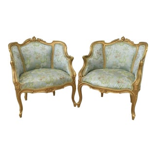 Early 20th Century French Louis XV Style Gilded Bergere Armchairs - a Pair For Sale