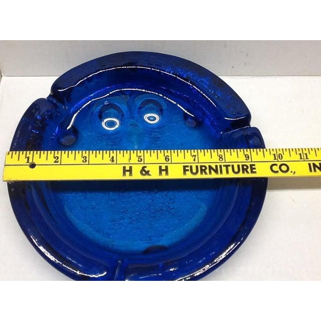 Vintage Cobalt Blue Blenko Art Glass Owl Ashtray For Sale - Image 4 of 7