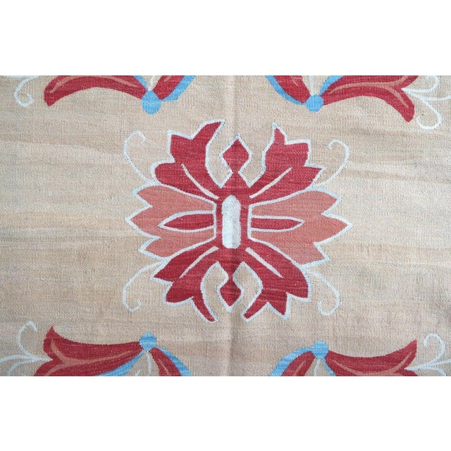 1950s 1950s, Handmade Vintage Romanian Bessarabian Kilim 5.9' X 9.6' For Sale - Image 5 of 6