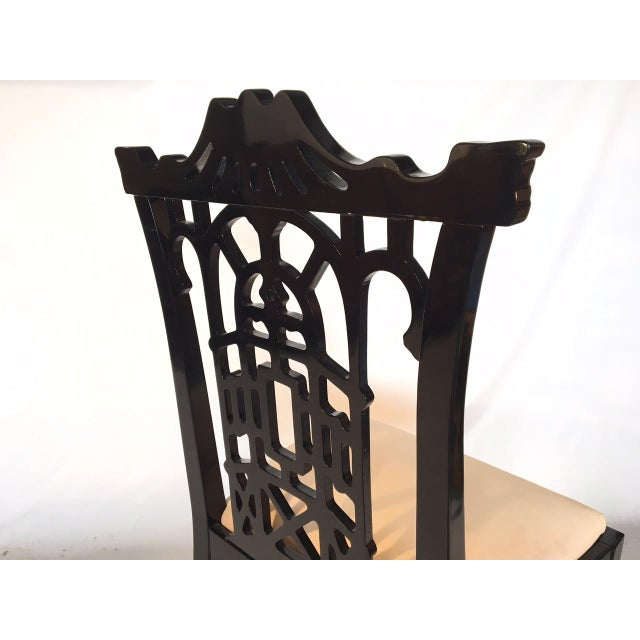 Black Black Lacquer Asian Chinoiserie Pagoda Dining Chairs - Set of 4 For Sale - Image 8 of 11
