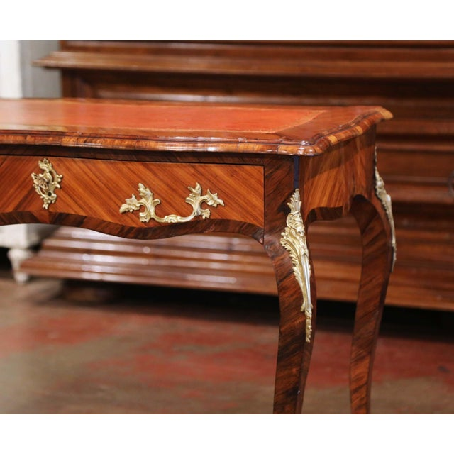 French 19th Century French Louis XV Marquetry and Bronze Ladies Desk With Leather Top For Sale - Image 3 of 13