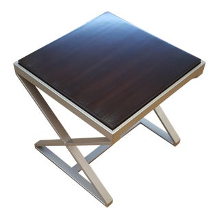 Caracole Chrome and Rosewood Side Table For Sale