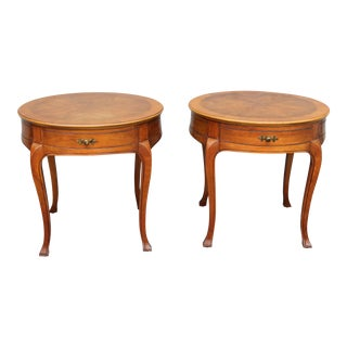 "John Widdicomb Mid-Century ""Starburst"" Top End Tables - a Pair"