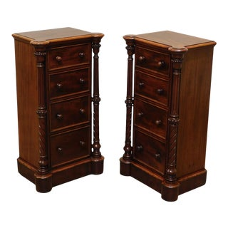 Antique Pair English Victorian 4 Drawer Bedside Chests For Sale
