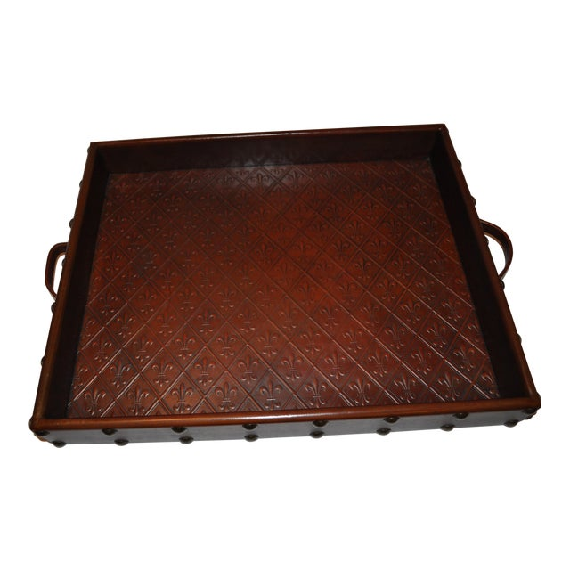 Embossed Leather Tray by Sarreid Ltd. - Image 1 of 6