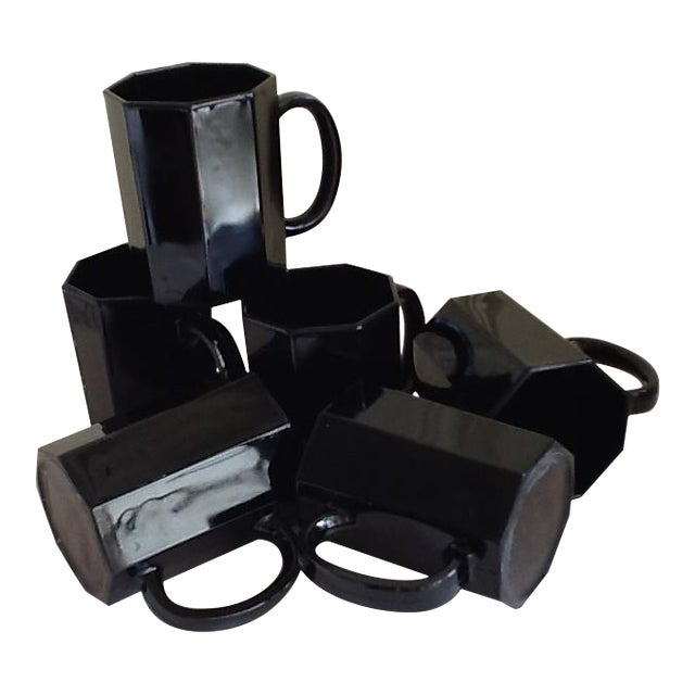 Ebony Ceramic French Mugs - Set of 6 For Sale