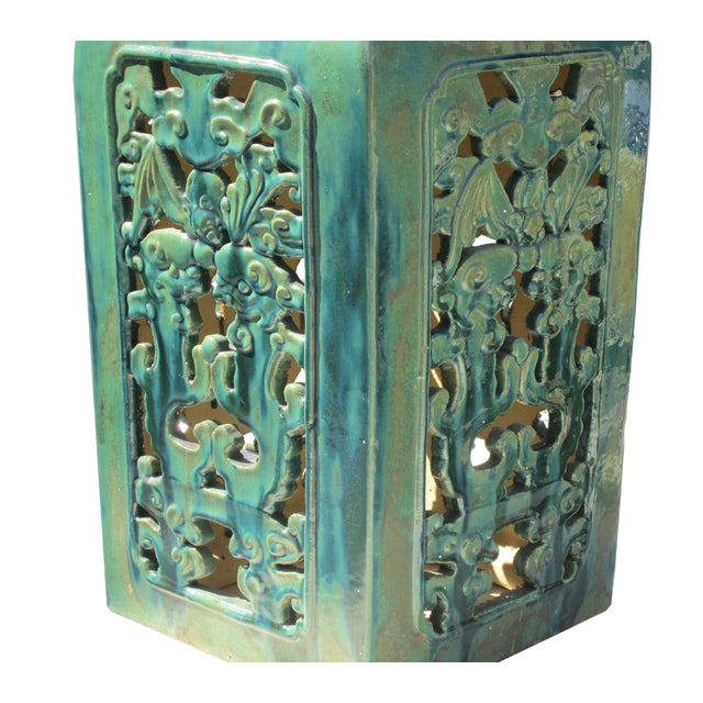 Chinese Clay Turquoise Green Square Pedestal Stand - Image 5 of 6