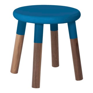 Peewee Kids Chair in Walnut With Pacific Blue Finish For Sale