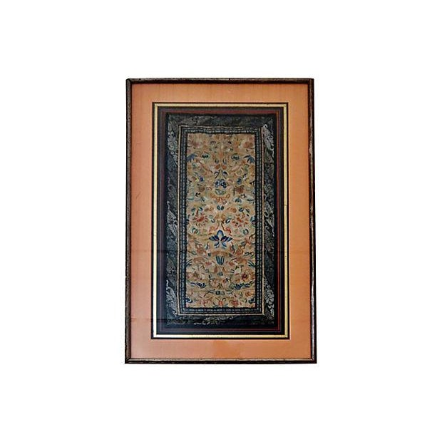 19th-C. Framed Embroidered Silk Panel - Image 2 of 7