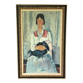 """1970's Vintage """"Gypsy Woman With Baby"""" Oil Painting After Modigliani"""