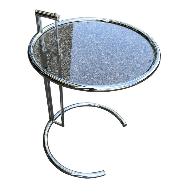 Eileen Gray Chrome & Glass Side Table For Sale
