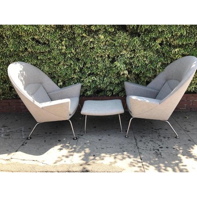 Hans J. Wegner Oculus Chairs & Ottoman - Set of 3 - Image 2 of 6