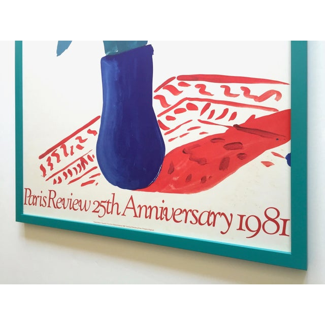 """David Hockney Rare Vintage 1981 Lithograph Print Framed"""" Paris Review """" 25th Anniversary Collector's Poster For Sale - Image 11 of 13"""