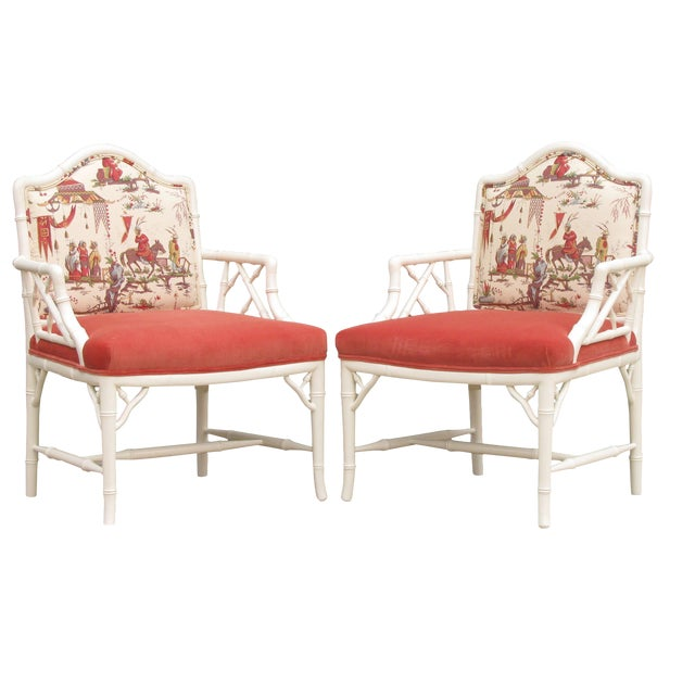 Faux Bamboo Chinoiserie Chairs in Coral & White, Pair For Sale
