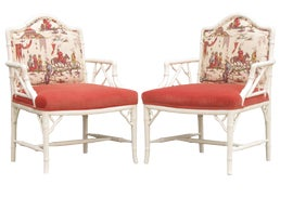 Image of Faux Bamboo Bergere Chairs