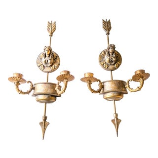 Neoclassical Gilded Wall Hanging Candle Holders - A Pair For Sale