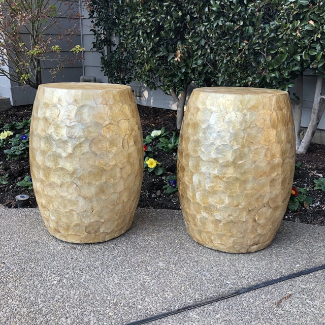 Shell Late 20th Century Vintage Capiz Shell Garden Stools- A Pair For Sale - Image 7 of 12