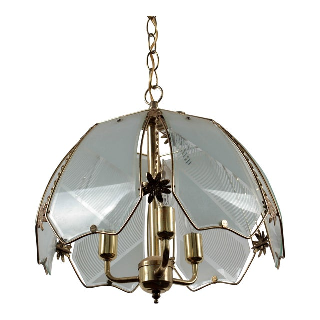 Brass and Frosted Pattern Glass Ceiling Pendant Lamp For Sale