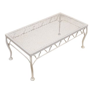 White Wrought Iron Patio Coffee Table