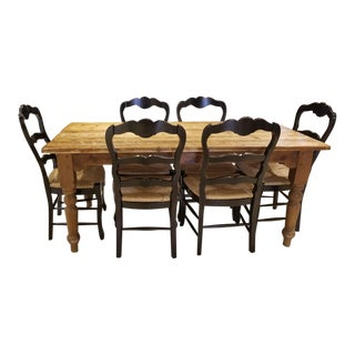 """Old Plank"" Knotty Pine Turned Legs Farm Table with 6 Chairs For Sale"