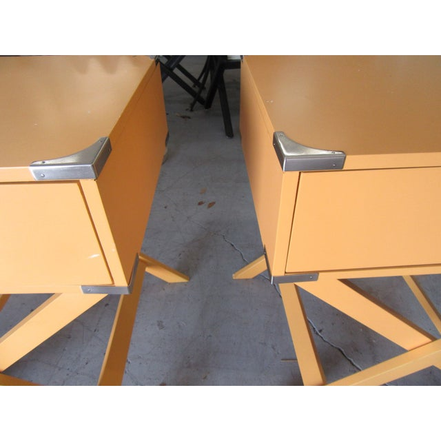 Campaign Yellow Side Tables - a Pair For Sale - Image 4 of 7