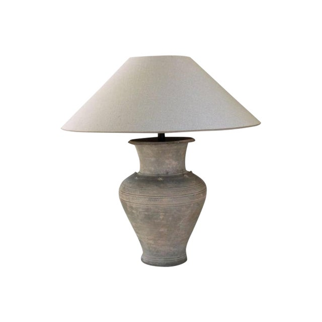 Large Unglazed Khmer Vase as Table Lamp For Sale