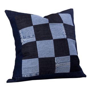 Contemporary Denim Grid Throw Pillow For Sale