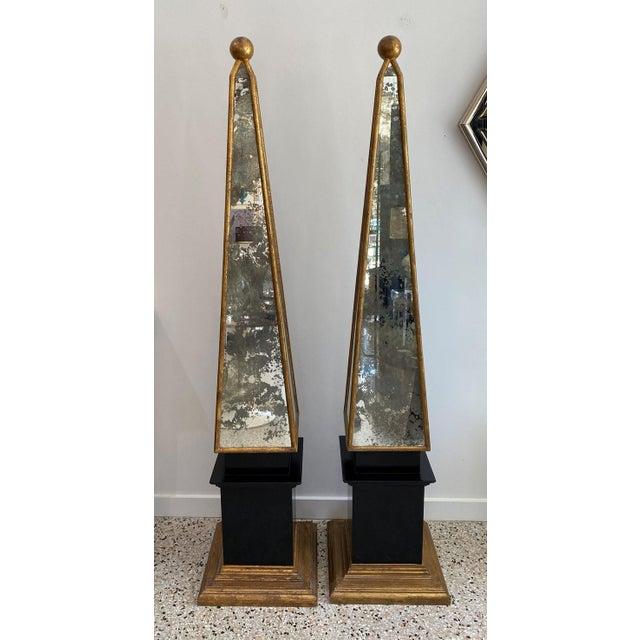 "Vintage Obelisks 73"" Italian Florentine Giltwood and Antiqued Mirror - a Pair For Sale - Image 11 of 12"