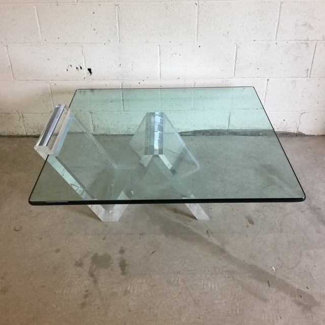 Cantilevered Glass & Lucite Coffee Table For Sale - Image 10 of 10