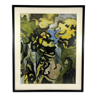 1967 Vintage John Selleck Abstract Expressionist Green and Yellow Painting For Sale