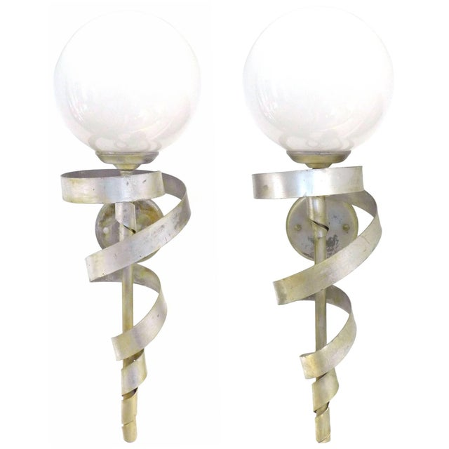 """Pair of Silver-Leaf """"Torch"""" Sconces For Sale - Image 4 of 4"""