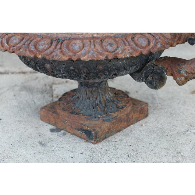 Antique Victorian 1920's Pair of Cast Iron Urns For Sale - Image 9 of 13