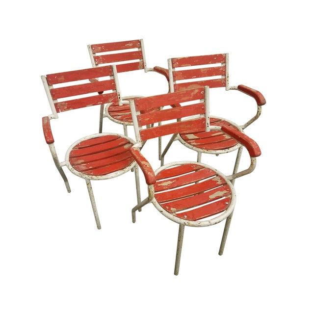 Red-Painted Garden Chairs - Set of 4 - Image 6 of 6