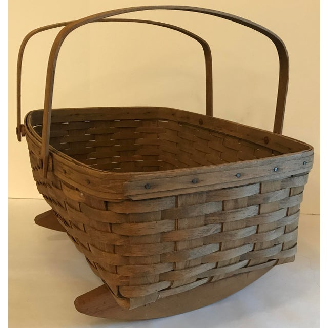 Mid 20th Century Vintage Longaberger Cradle Basket For Sale - Image 5 of 9
