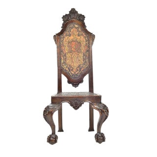 Spanish Baroque Walnut Hall Chair For Sale