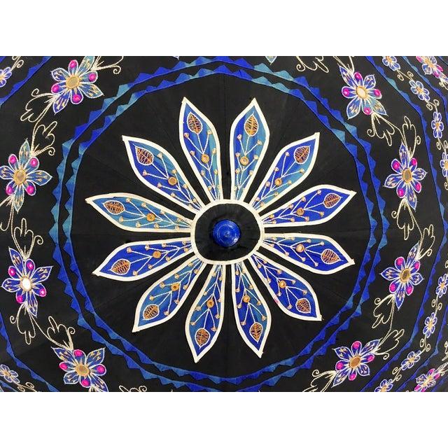 Sun Umbrella Garden Umbrella, Embroidered Cotton - Image 10 of 11