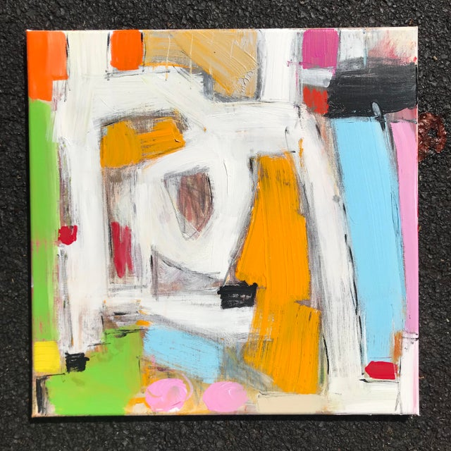 A bright, bold and energetic mixed media composition. 20 x 20 x. 75 (standard depth canvas). Edges painted pale grey, back...